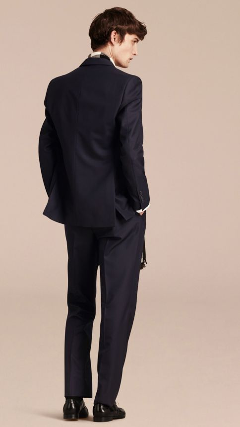 Navy Classic Fit Wool Part-canvas Suit Navy - Image 3