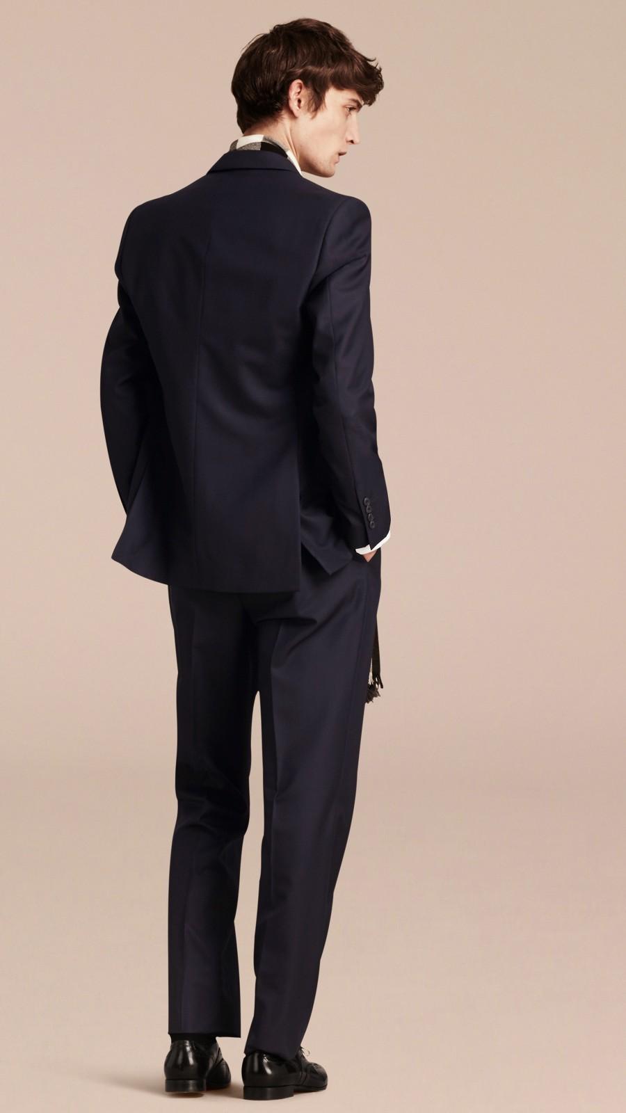 Navy Classic Fit Wool Part-canvas Suit Navy - Image 3
