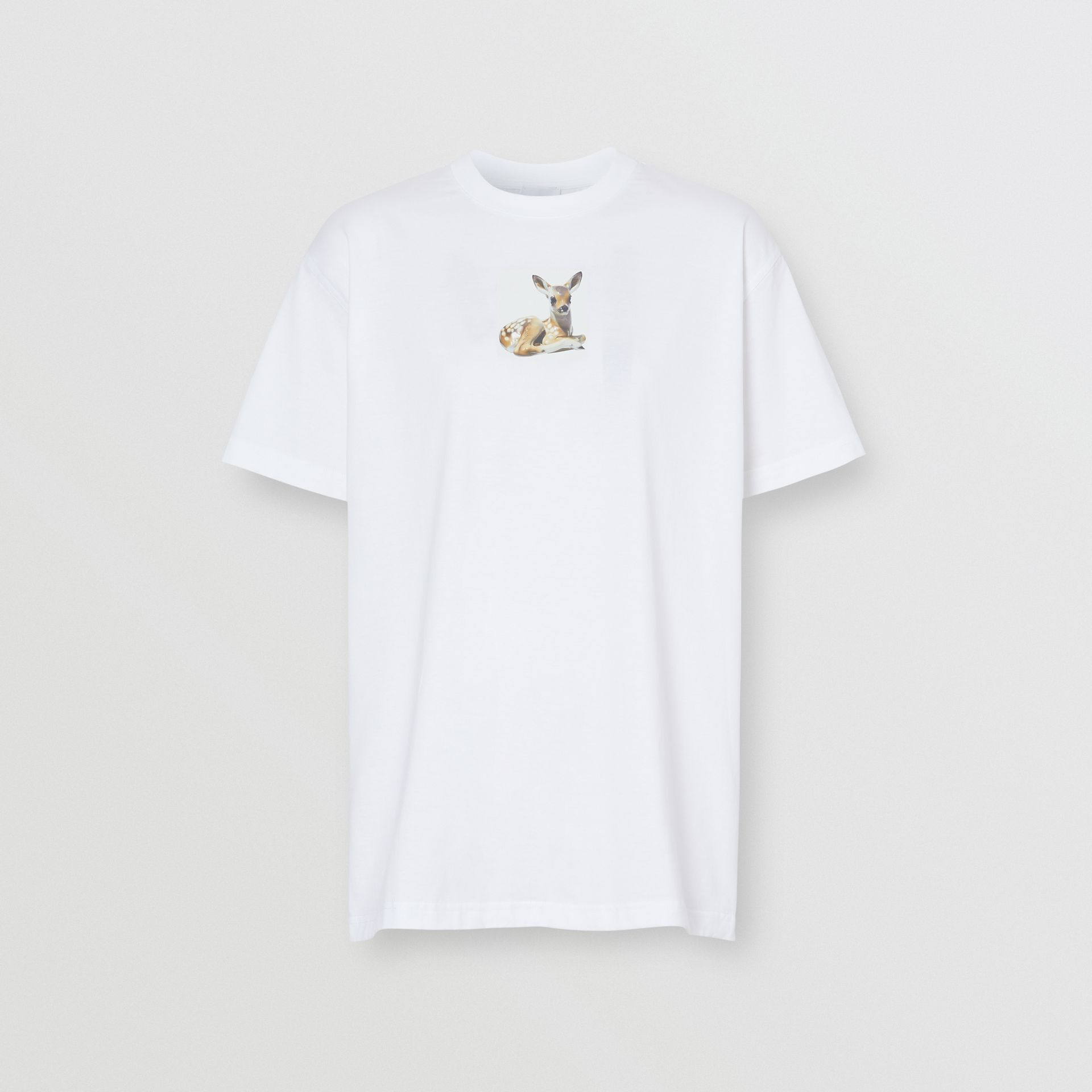 Deer Print Cotton T-shirt in White | Burberry Australia - gallery image 3