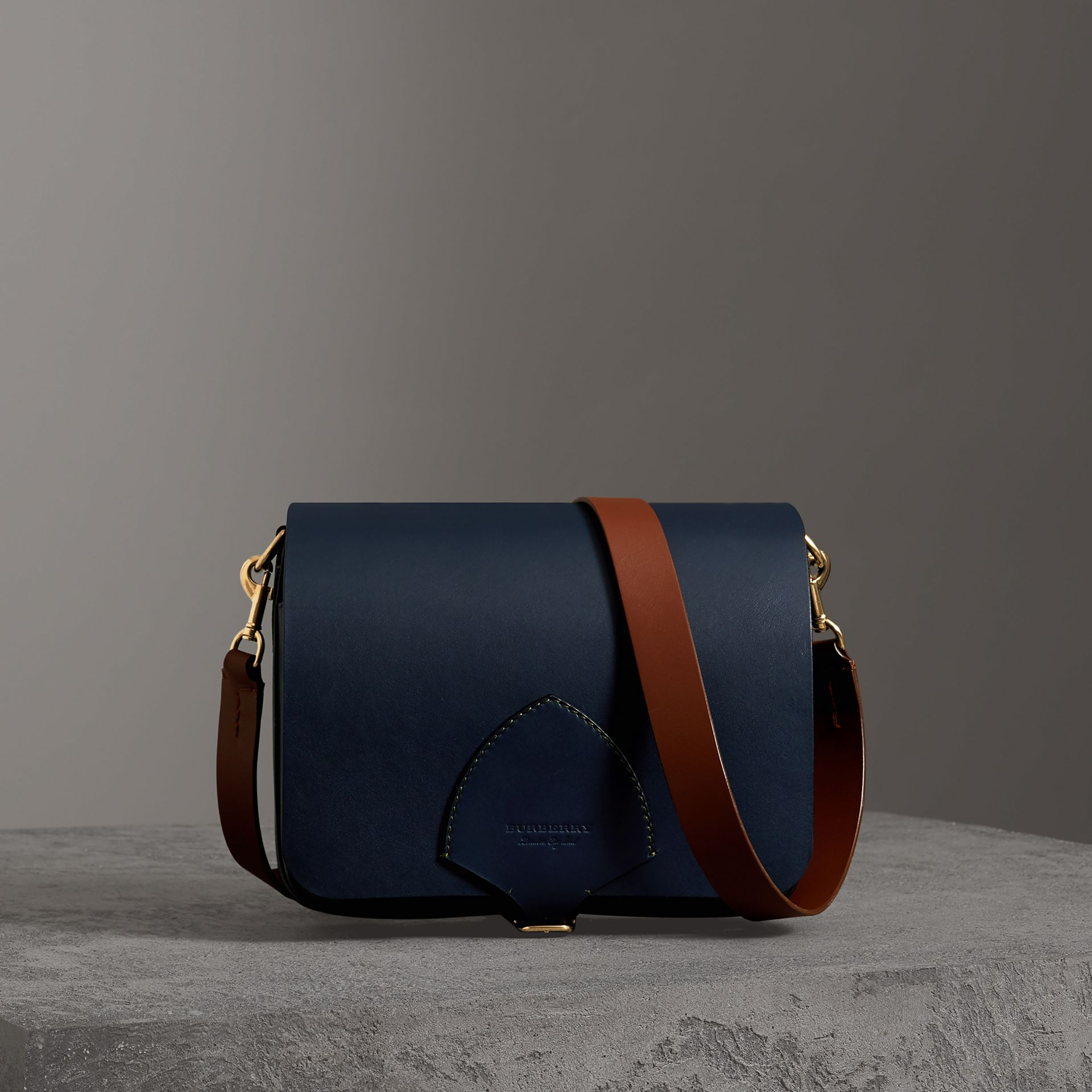 The Large Square Satchel in Leather in Mid Indigo - Women | Burberry United States - gallery image 0