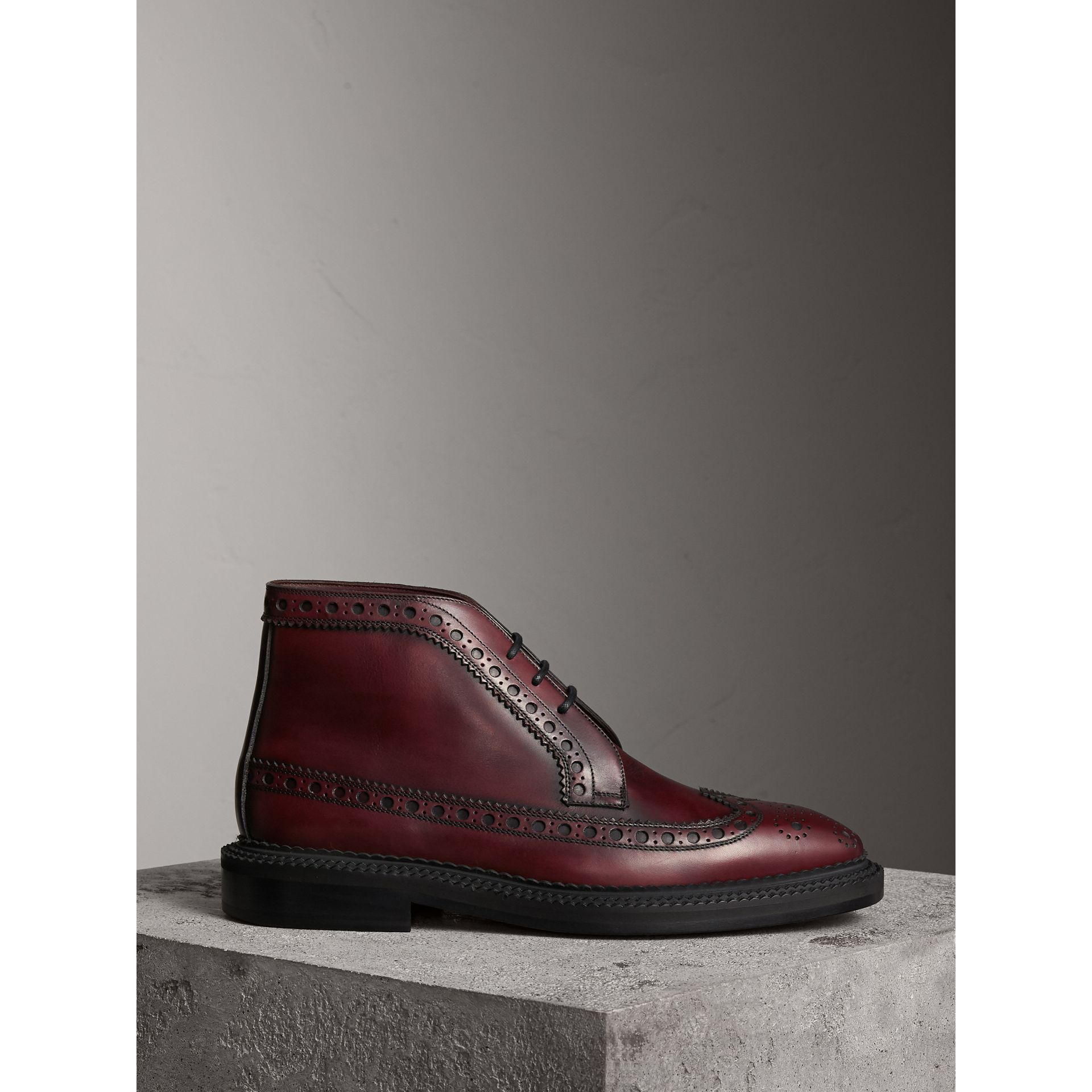 Leather Brogue Boots in Bordeaux - Men | Burberry - gallery image 1