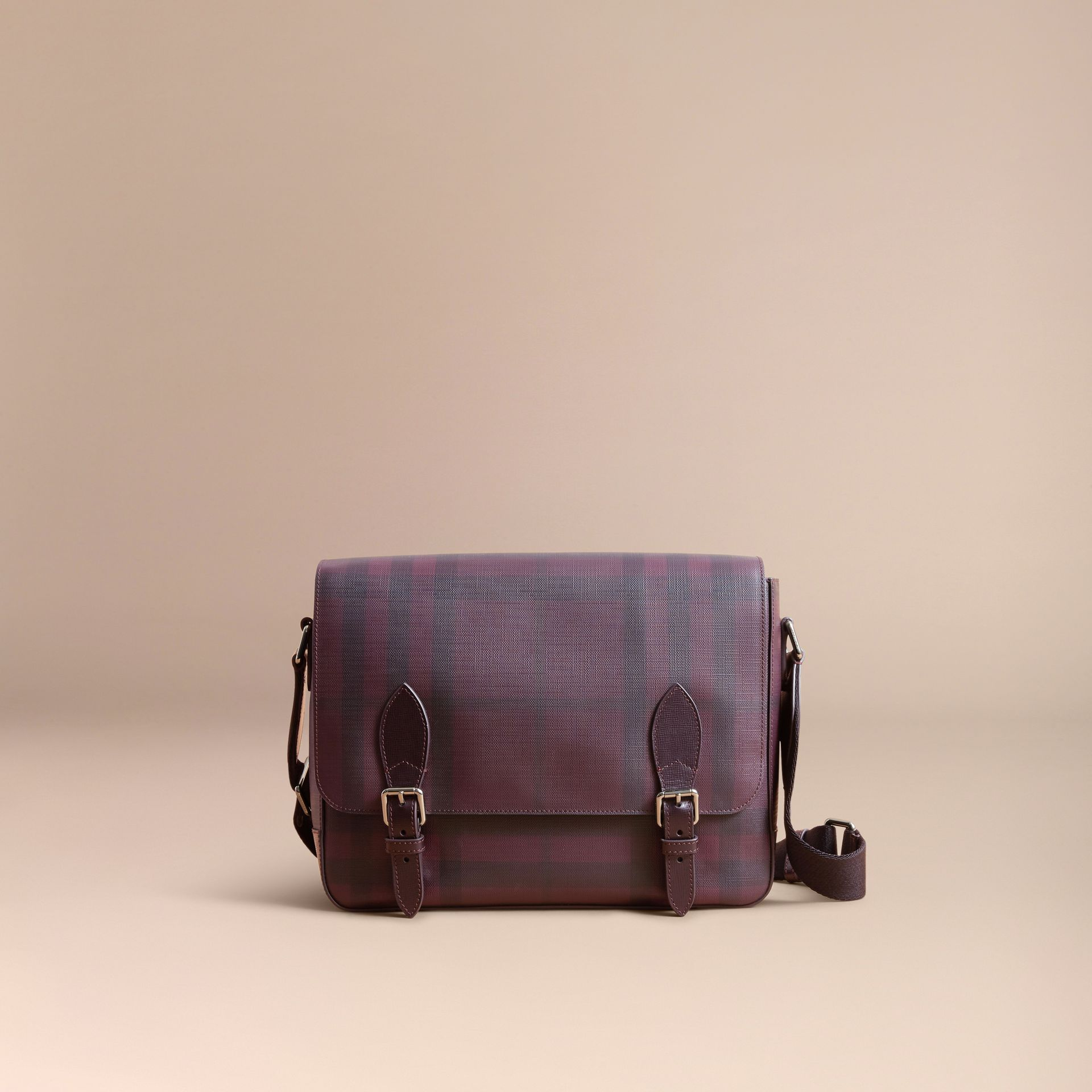 Medium Leather Trim London Check Messenger Bag in Deep Claret - Men | Burberry - gallery image 7