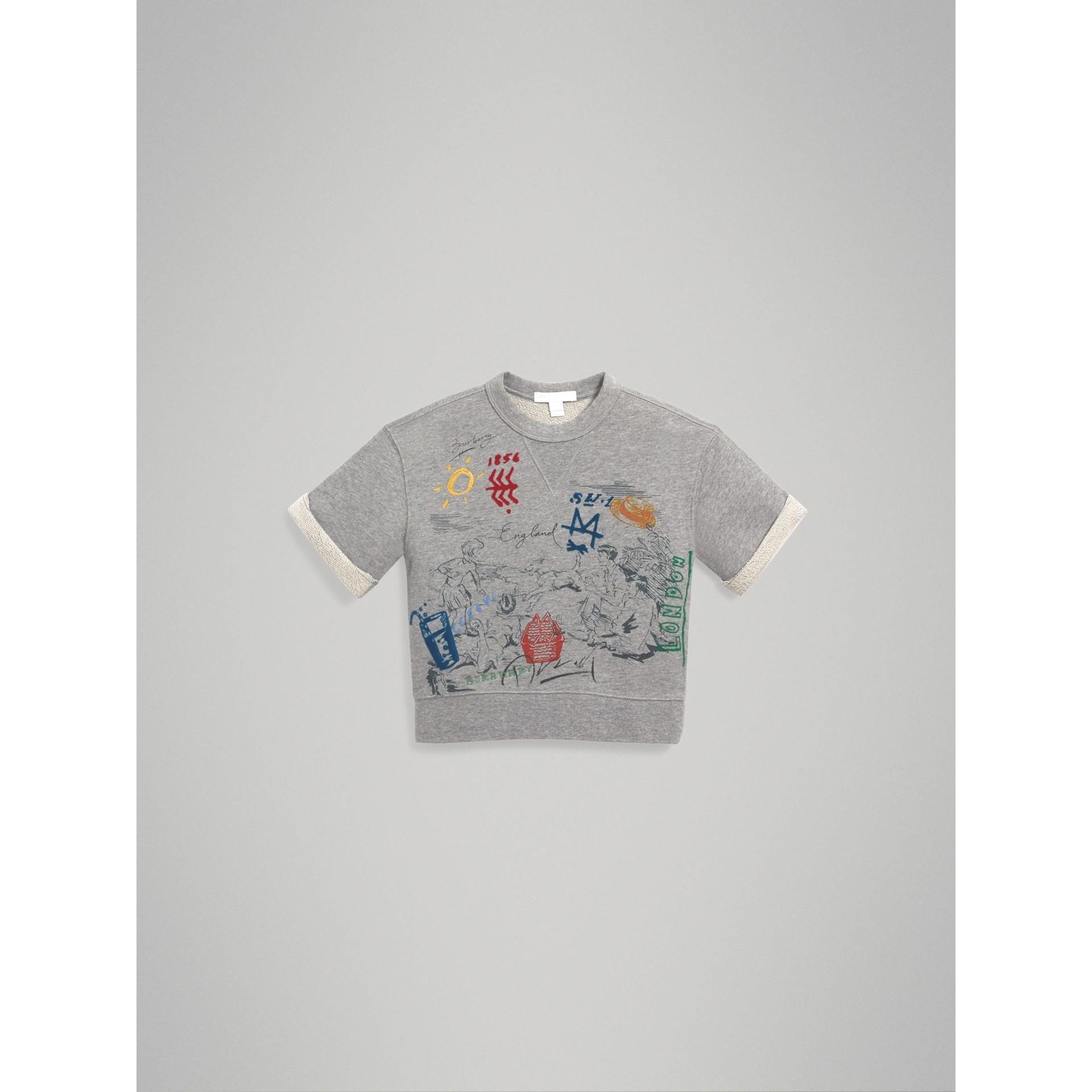 Short-sleeve Adventure Motif Cotton Jersey Sweatshirt in Grey Melange - Boy | Burberry - gallery image 2