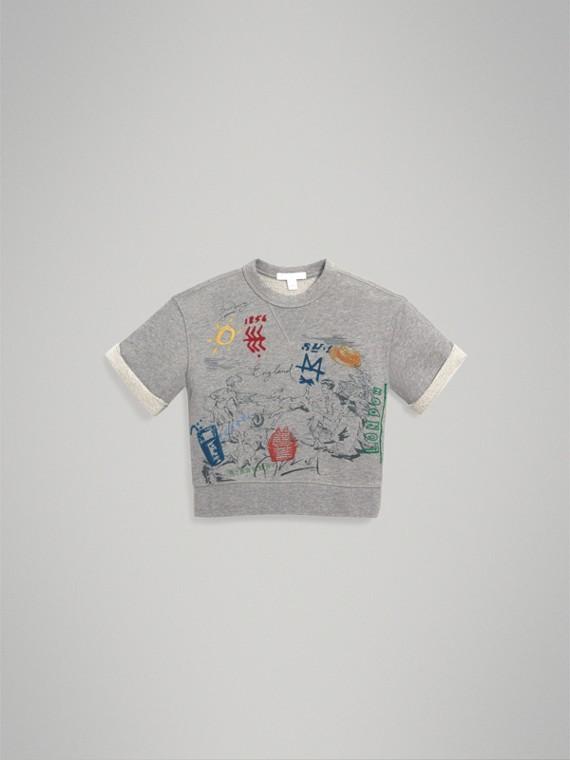 Short-sleeve Adventure Motif Cotton Jersey Sweatshirt in Grey Melange - Boy | Burberry - cell image 2