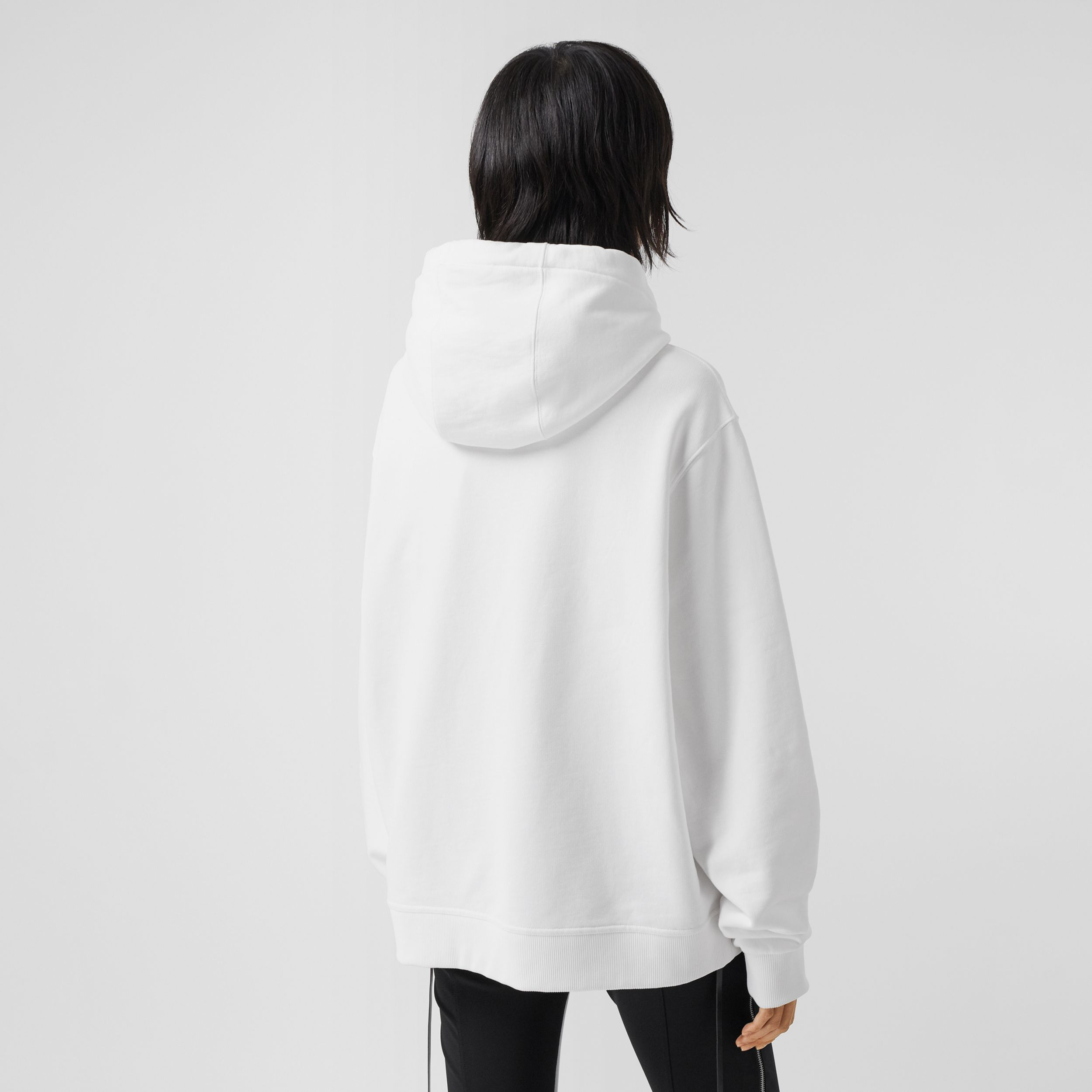 Montage Print Cotton Oversized Hoodie in White - Women | Burberry - 3