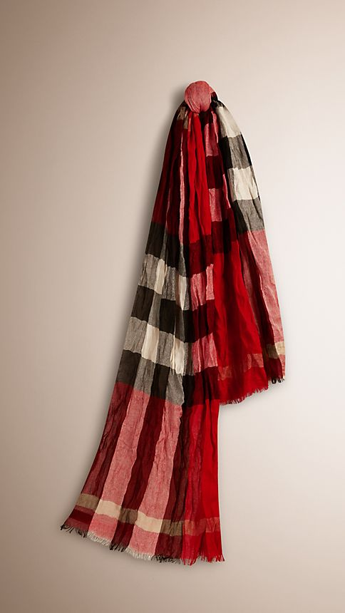 Military red check Check Cashmere Crinkled Scarf - Image 1