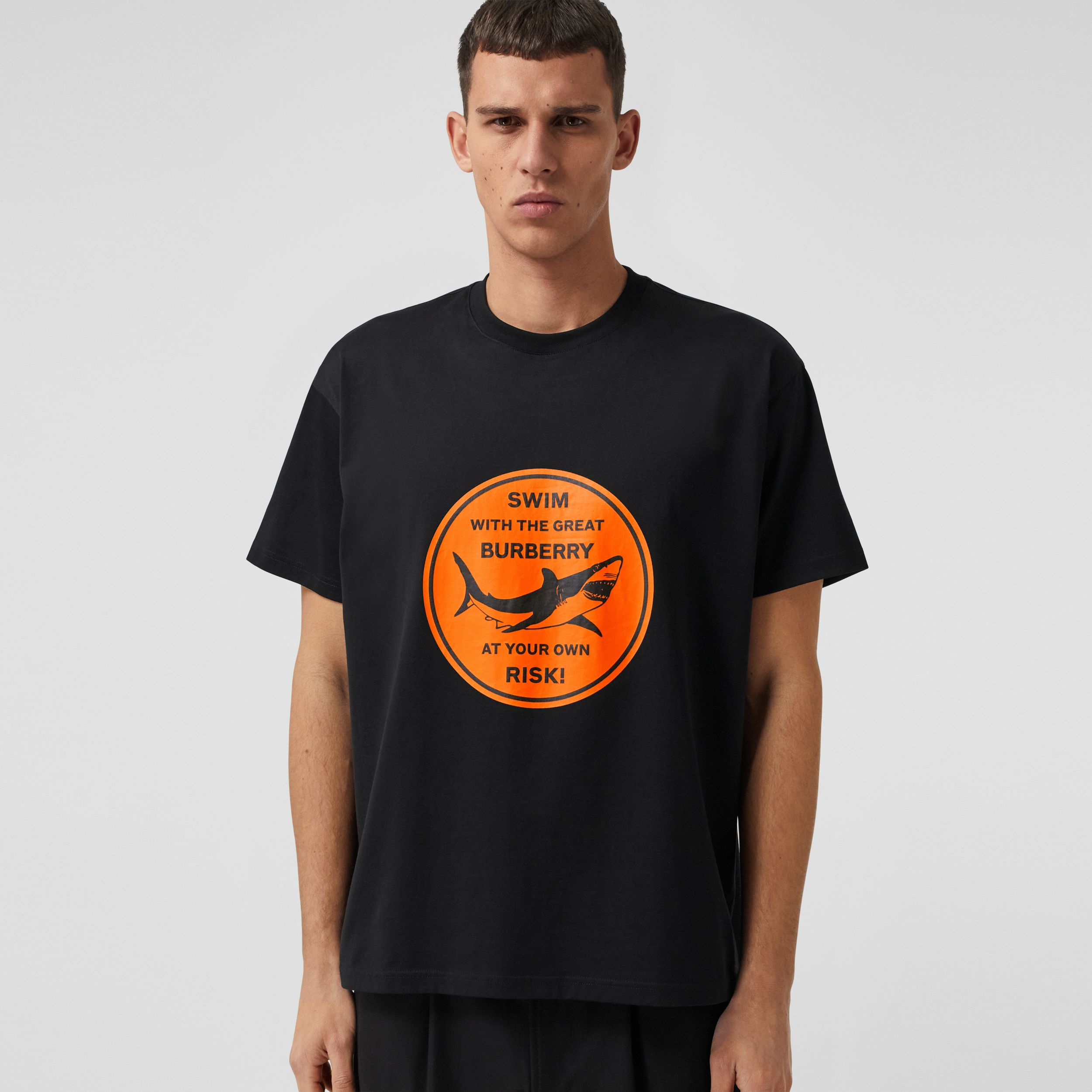 Shark Graphic Cotton Oversized T-shirt in Black - Men | Burberry United States - 1