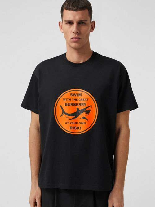 Burberry T-shirts Shark Graphic Cotton Oversized T-shirt