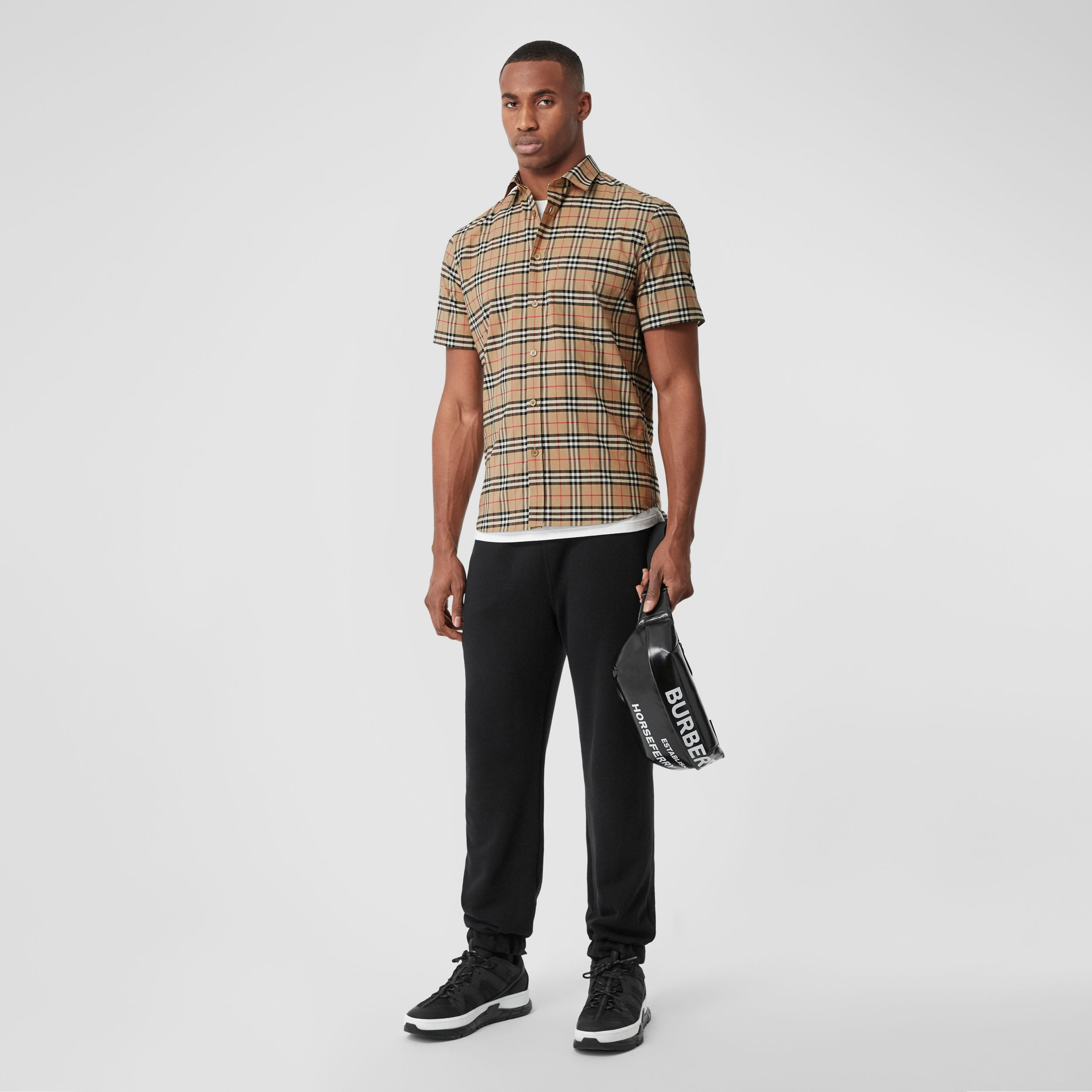 Short-sleeve Small Scale Check Stretch Cotton Shirt in Archive Beige - Men | Burberry - 1