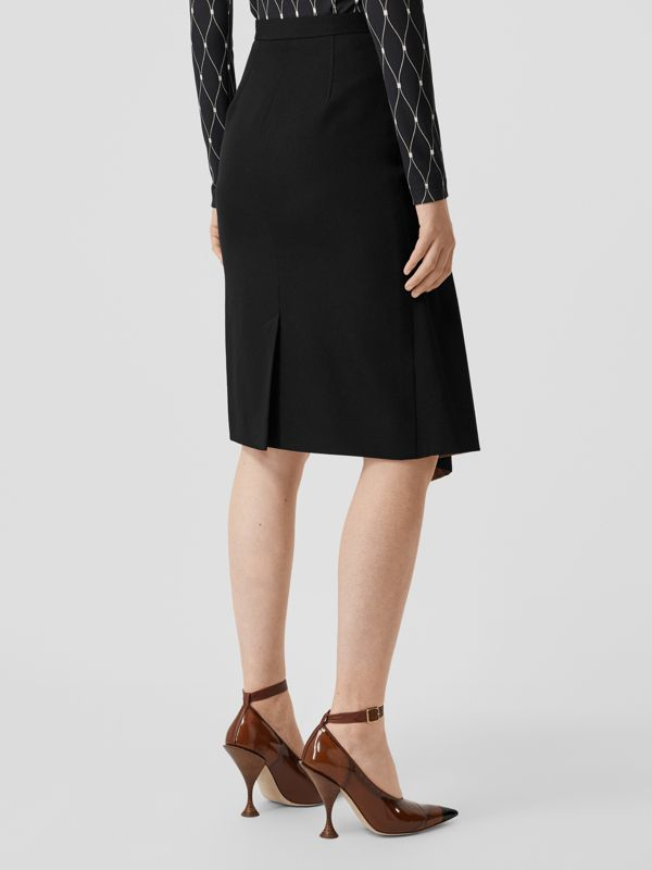 Ship Print Silk Panel Wool Pencil Skirt in Black - Women | Burberry - cell image 2