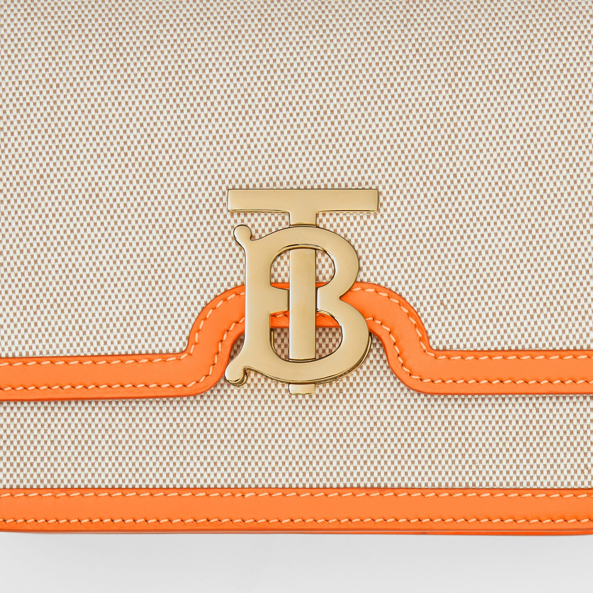 Small Two-tone Canvas and Leather TB Bag in Orange - Women | Burberry Australia - gallery image 1