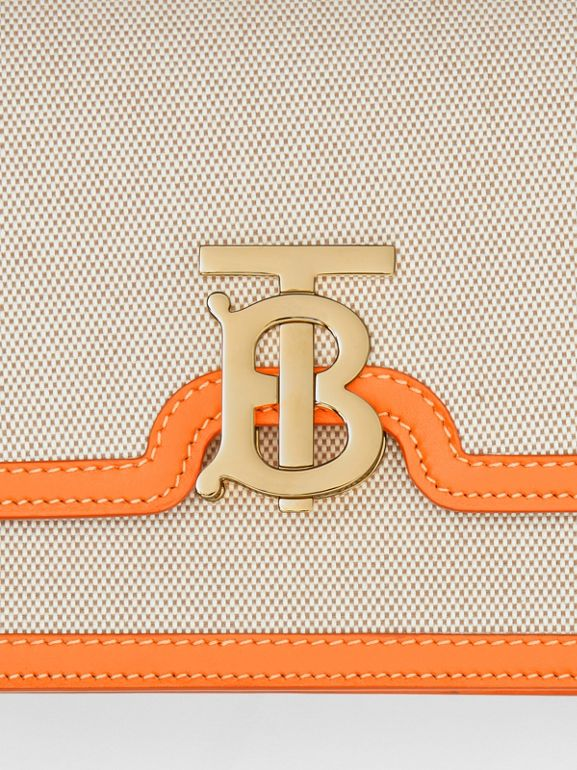 Small Two-tone Canvas and Leather TB Bag in Orange - Women | Burberry Australia - cell image 1
