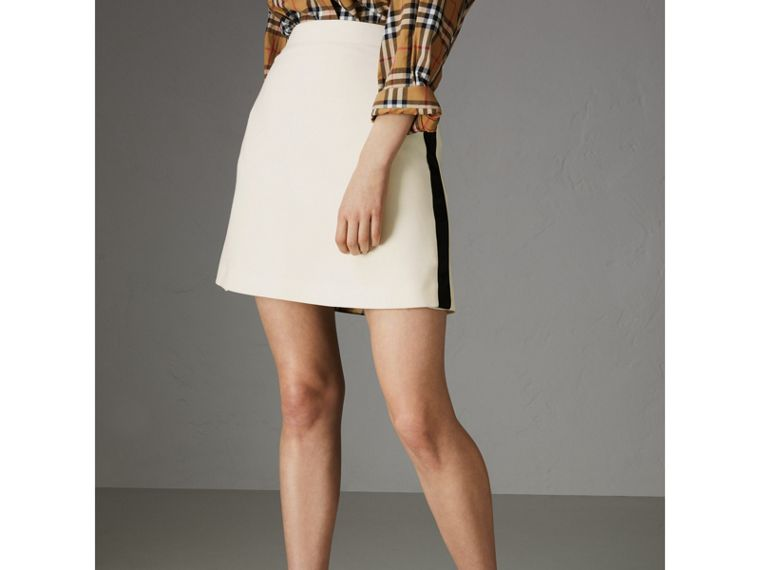 Sport Stripe Wool Silk Skirt in Off White - Women | Burberry Singapore - cell image 4
