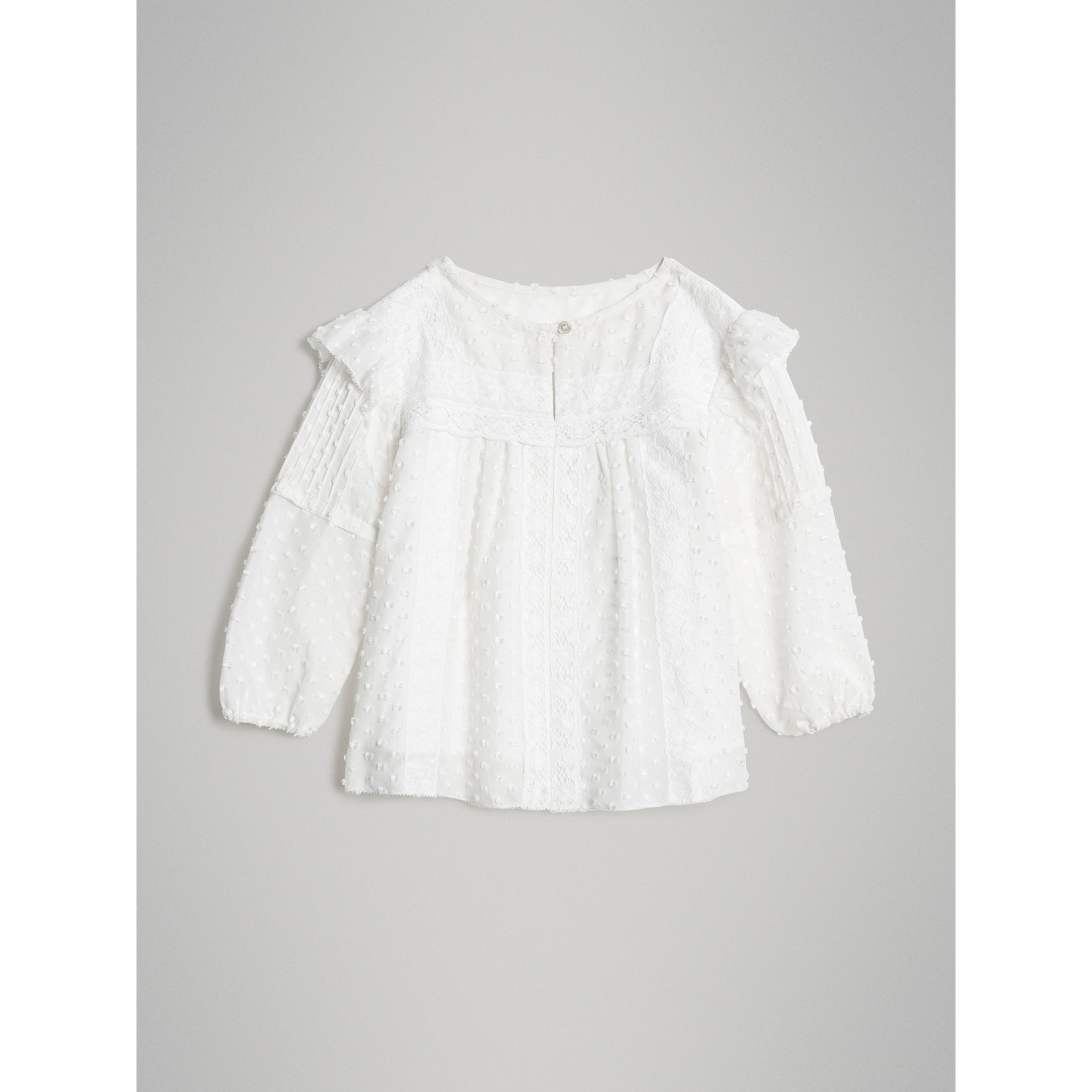 Ruffle Detail Cotton Silk Blend Top in White | Burberry Canada - gallery image 0