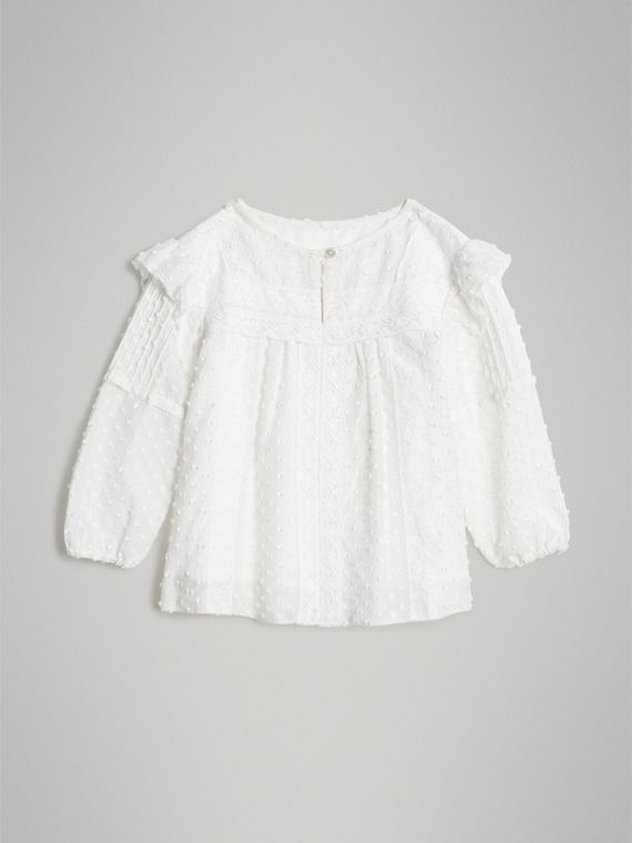 Ruffle Detail Cotton Silk Blend Top in White