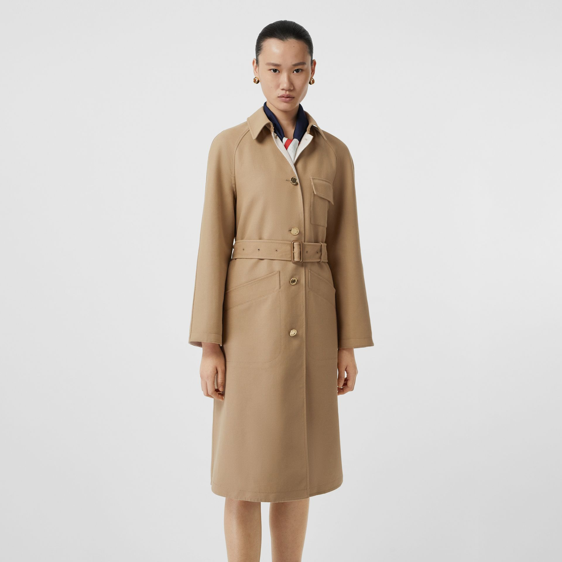 Double-faced Cotton Canvas Car Coat in Honey/white - Women | Burberry United Kingdom - gallery image 6