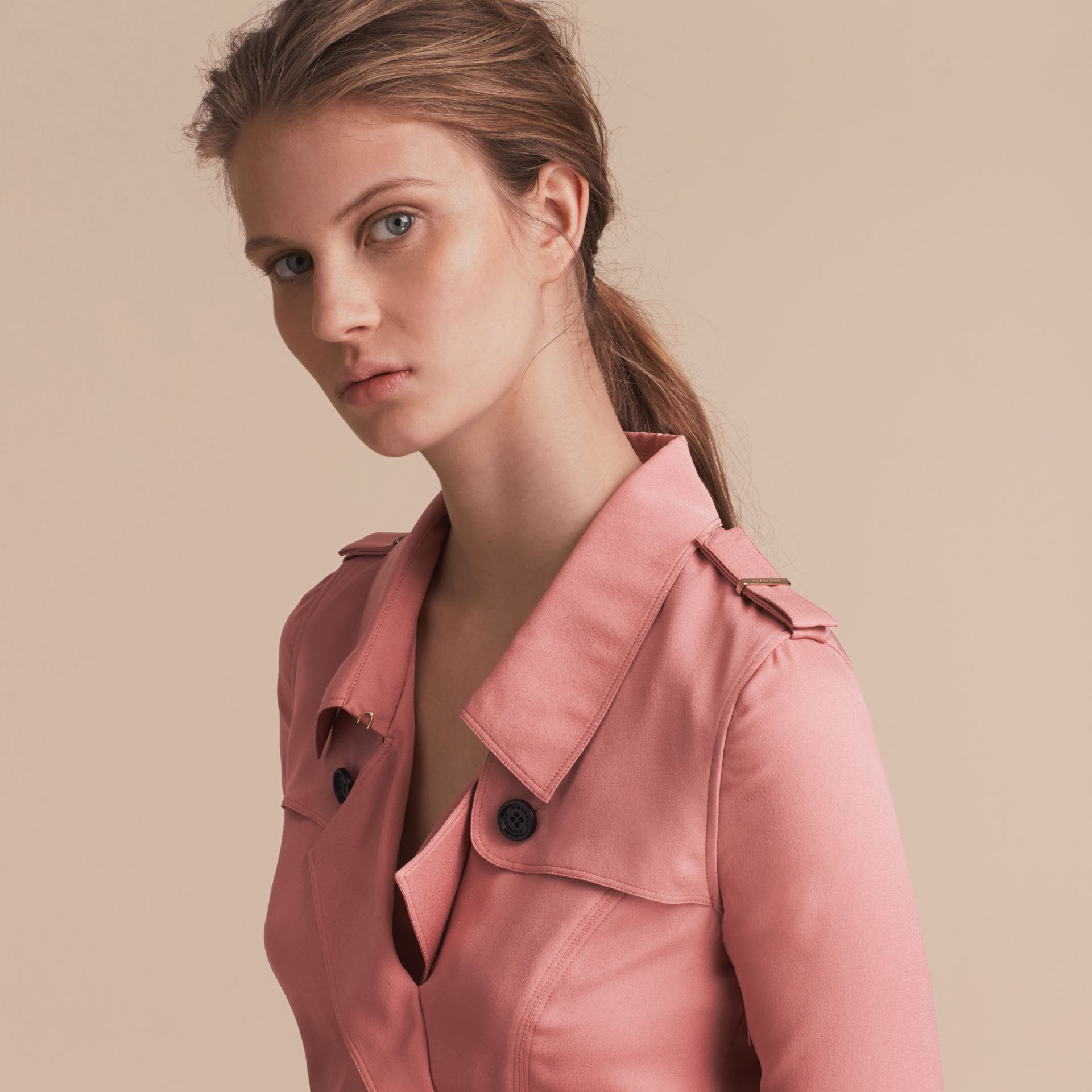Silk Wrap Trench Dress in Light Copper Pink - gallery image 5
