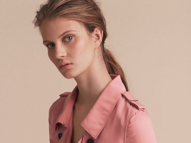 Silk Wrap Trench Dress in Light Copper Pink - cell image 4