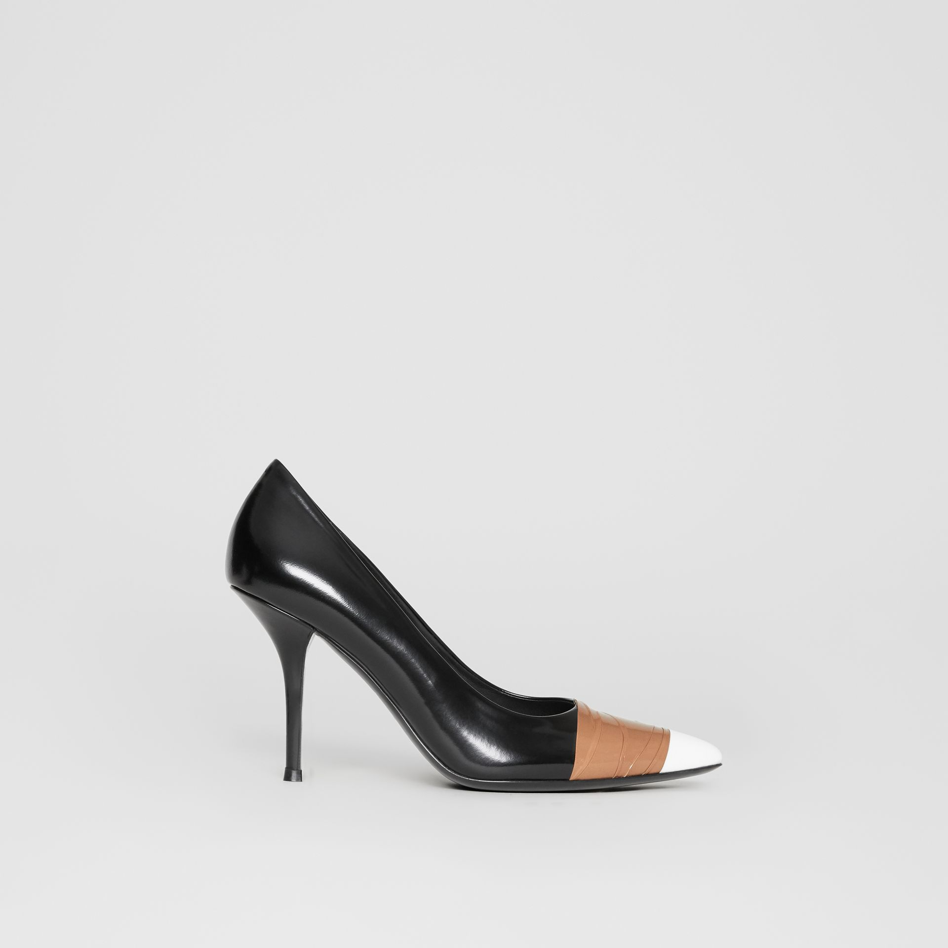 Tape Detail Leather Pumps in Black/optic White - Women | Burberry - gallery image 5