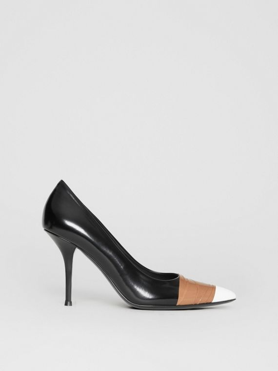 3d094dccaee5 Tape Detail Leather Pumps in Black optic White