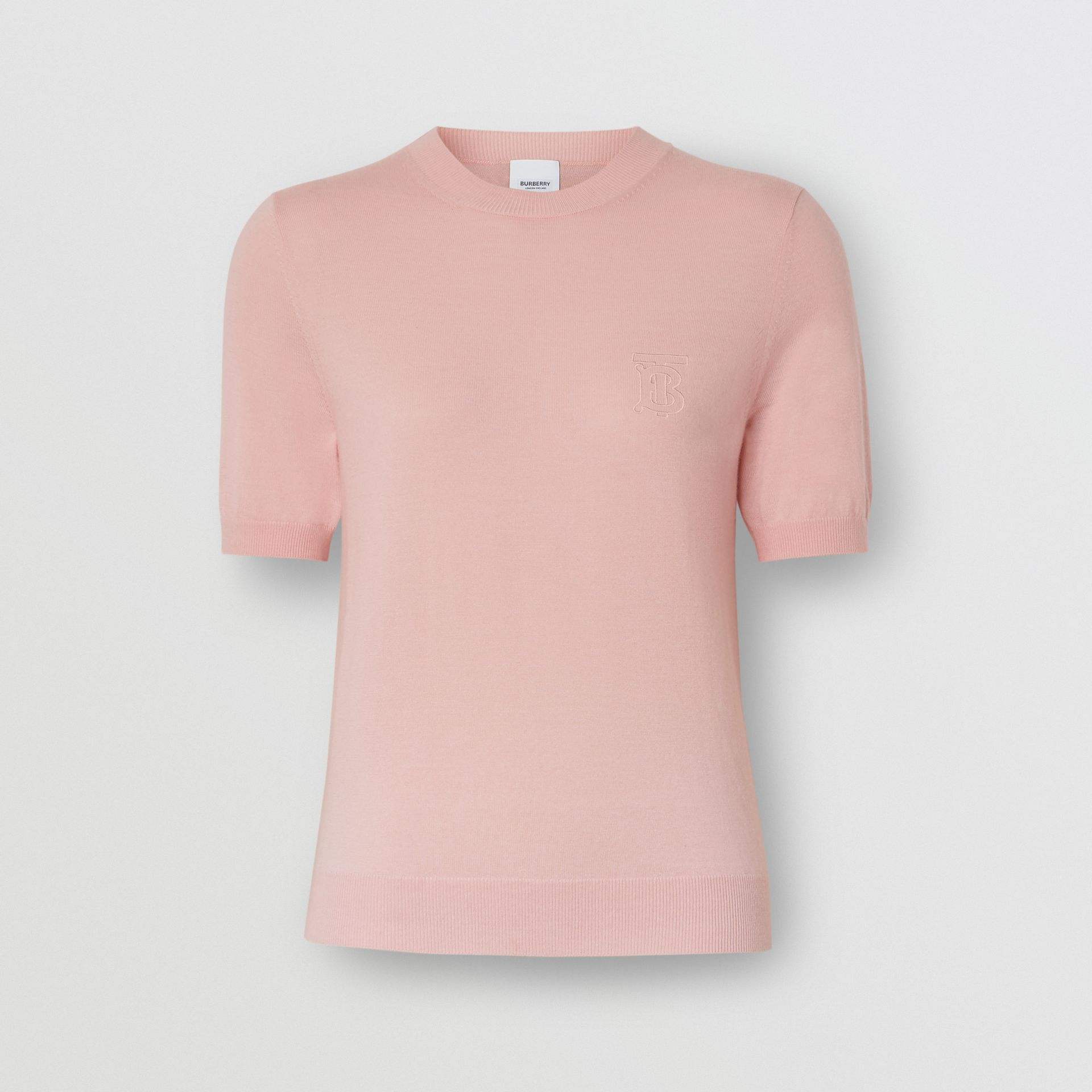 Monogram Motif Cashmere Top in Pink - Women | Burberry - gallery image 3