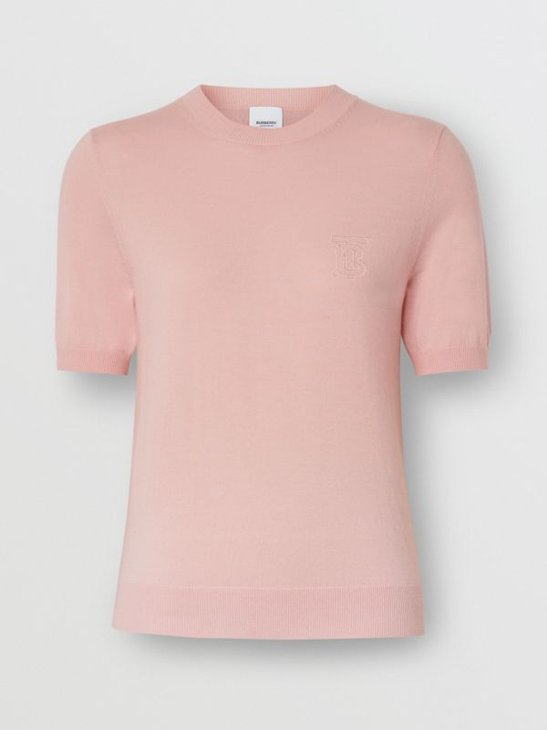 Monogram Motif Cashmere Top in Pink - Women | Burberry United States - cell image 3