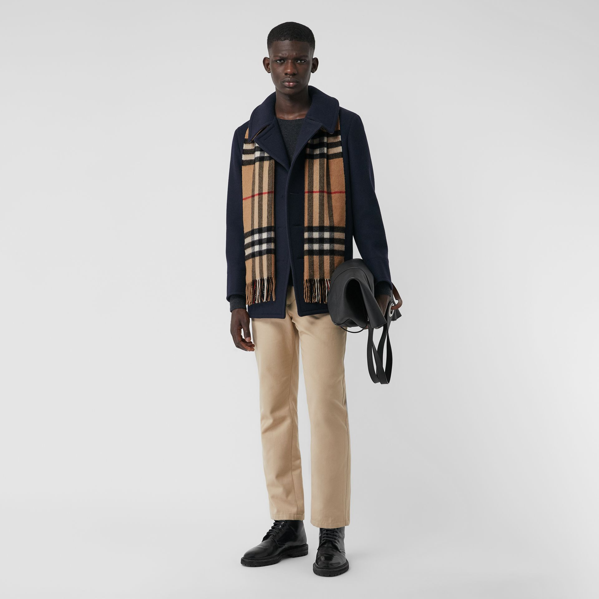 The Classic Check Cashmere Scarf in Camel | Burberry United States - gallery image 3