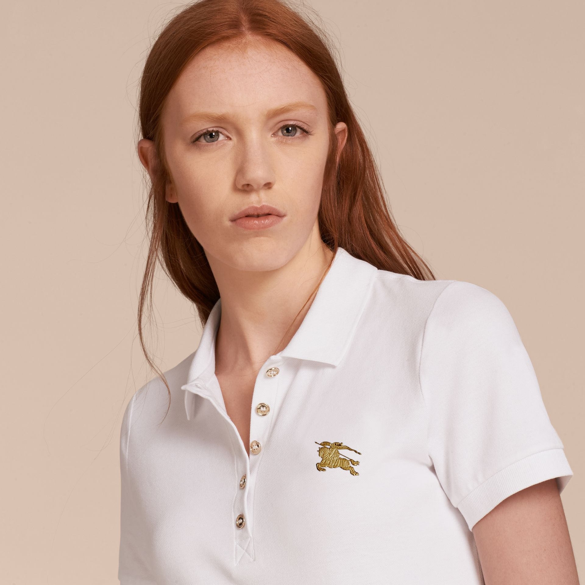 Stretch Cotton Piqué Polo Shirt in White - gallery image 5