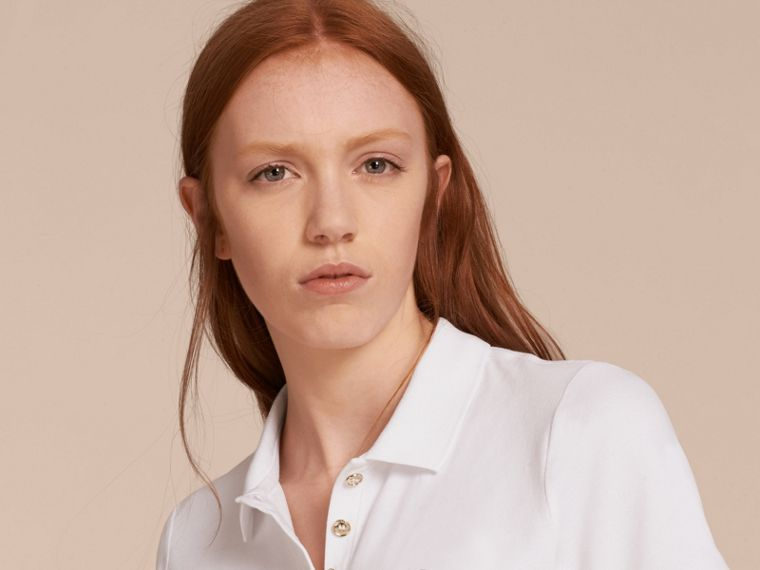 Stretch Cotton Piqué Polo Shirt in White - cell image 4