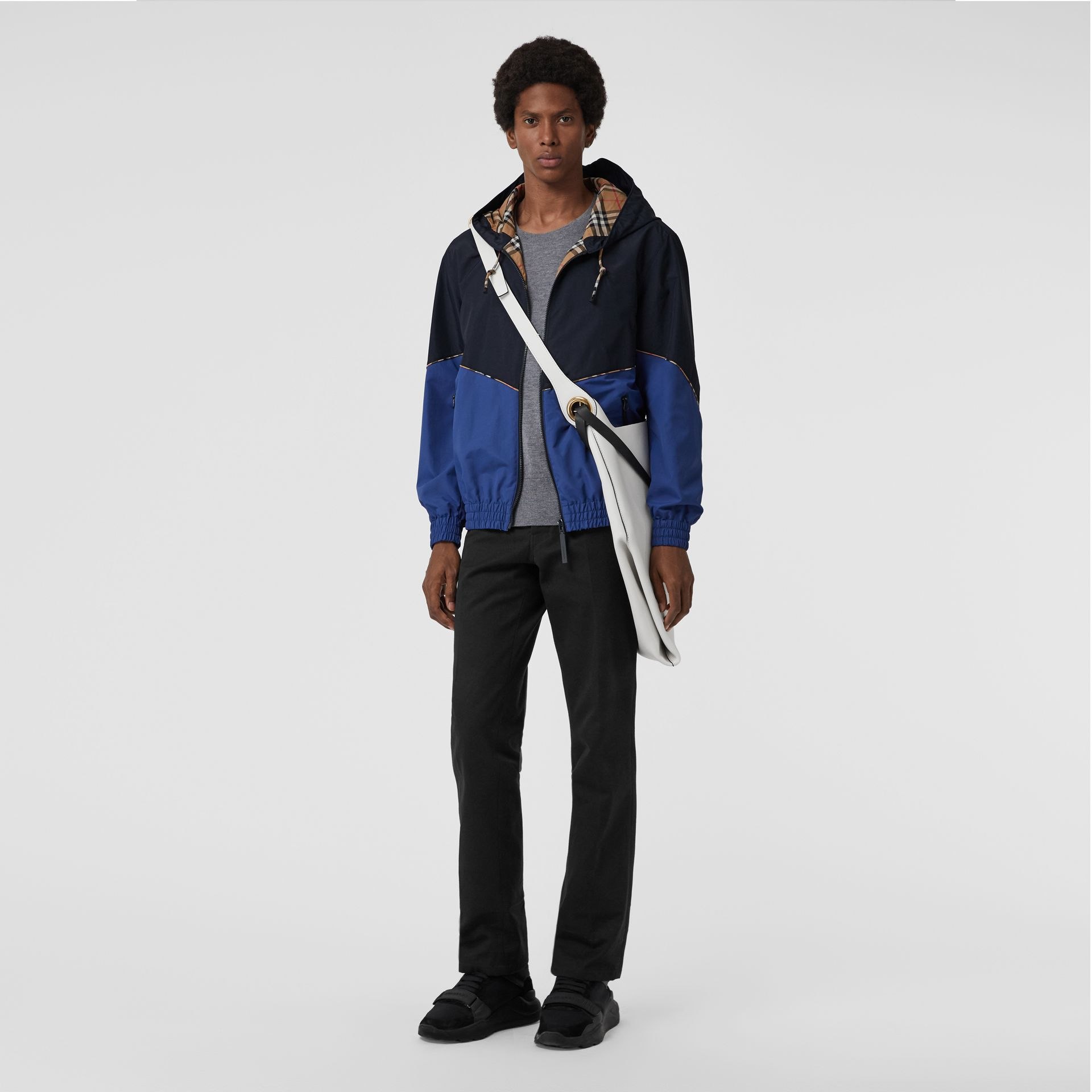 Vintage Check Detail Colour Block Hooded Jacket in Navy - Men | Burberry - gallery image 0