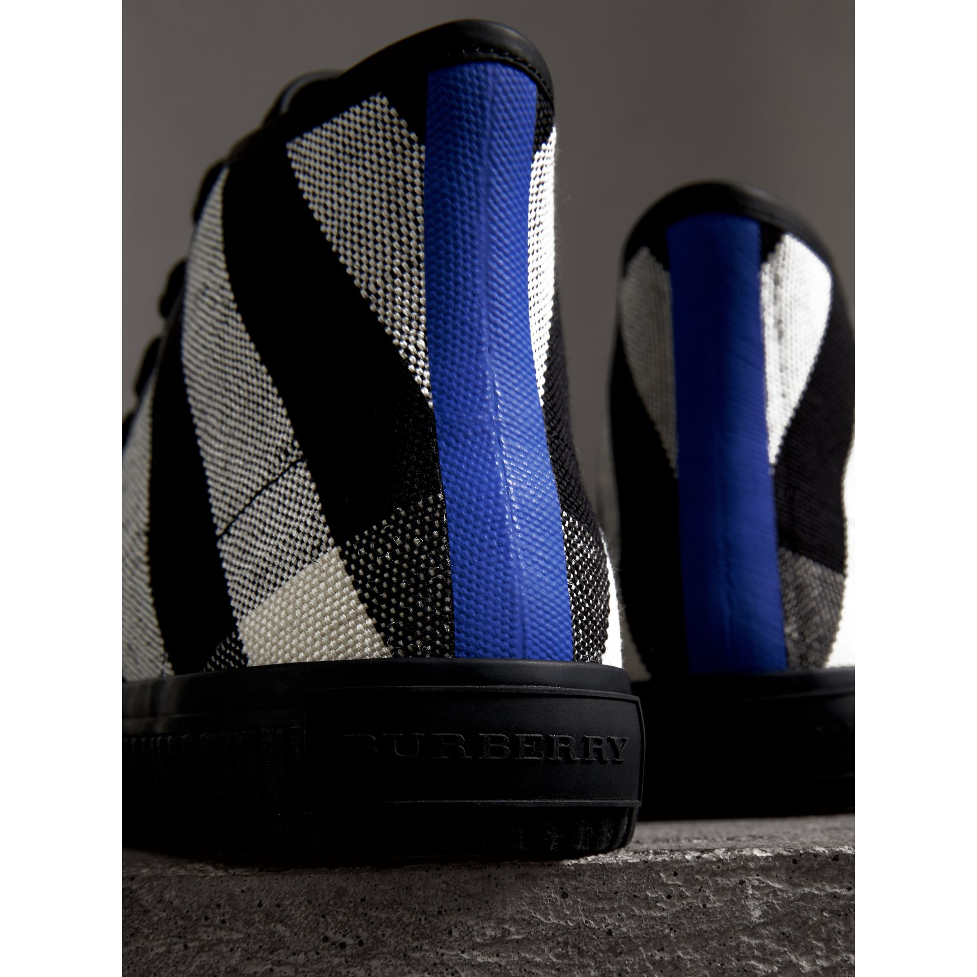 Canvas Check and Leather High-top Sneakers in Black - Men | Burberry Australia - gallery image 1