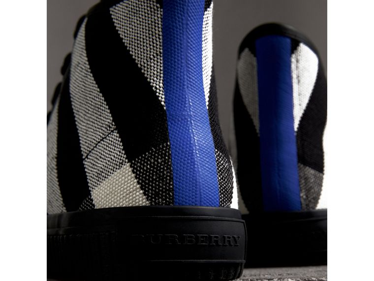 Canvas Check and Leather High-top Sneakers in Black - Men | Burberry Australia - cell image 1