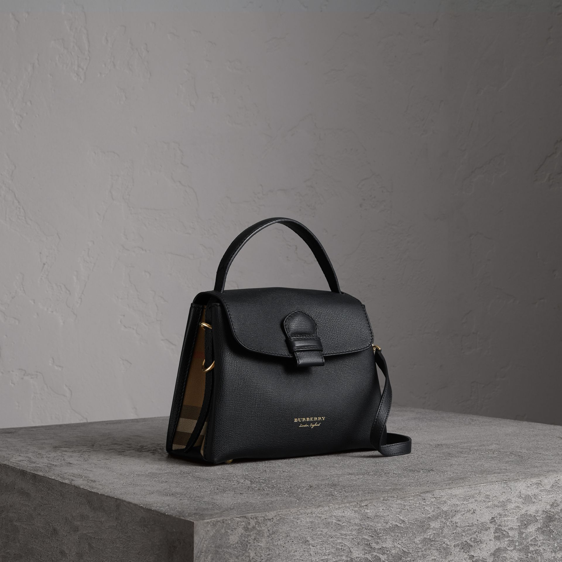 Small Grainy Leather and House Check Tote Bag in Black - Women | Burberry United States - gallery image 0