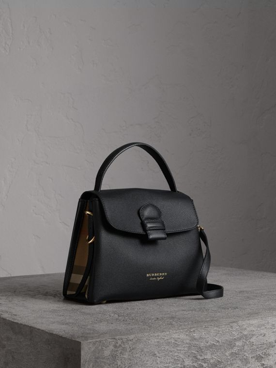 Small Grainy Leather and House Check Tote Bag in Black
