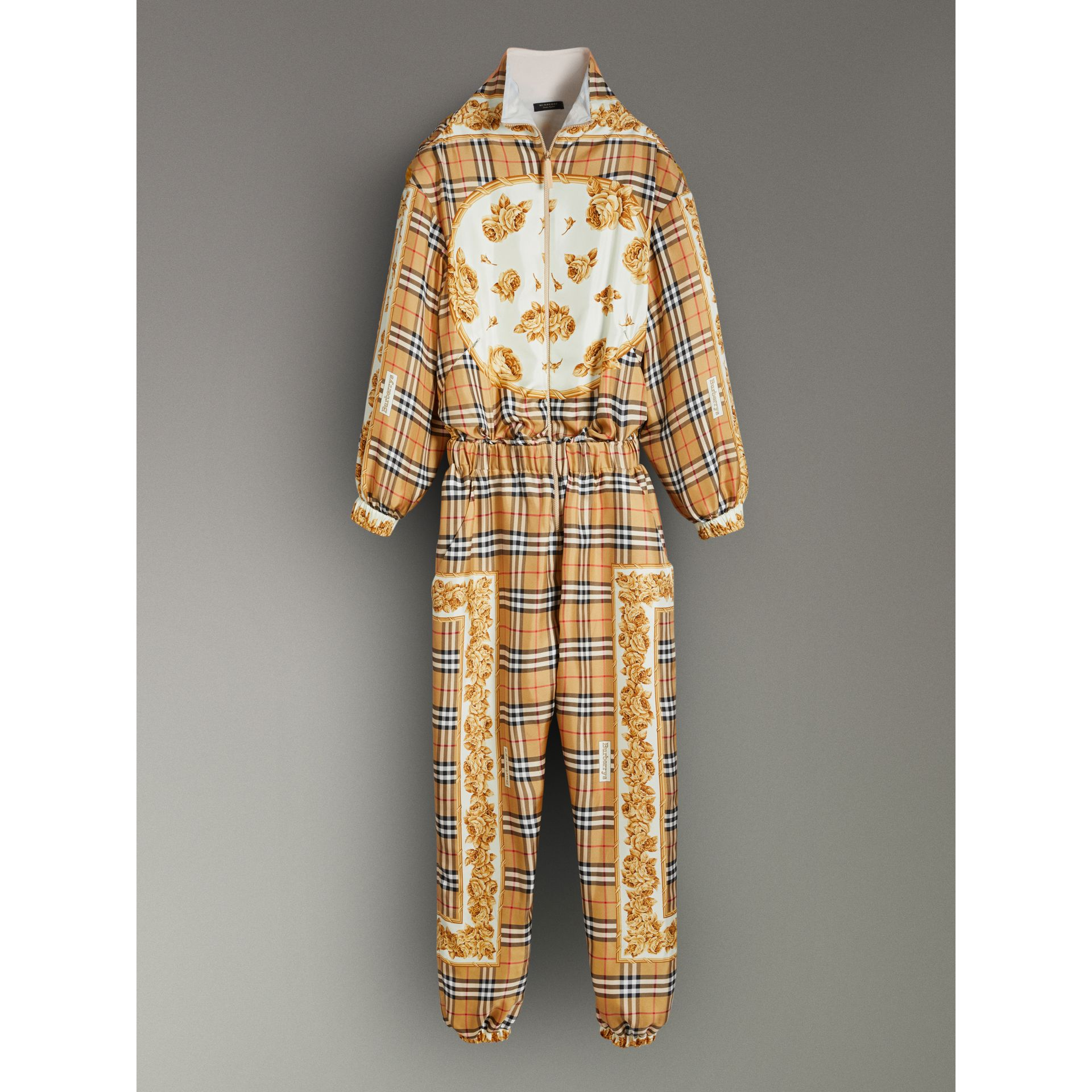 Vintage Check and Archive Scarf Print Jumpsuit in Antique Yellow - Women | Burberry United Kingdom - gallery image 3
