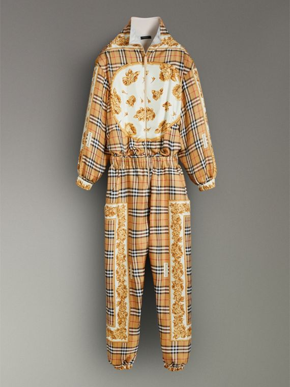 Vintage Check and Archive Scarf Print Jumpsuit in Antique Yellow - Women | Burberry Hong Kong - cell image 3