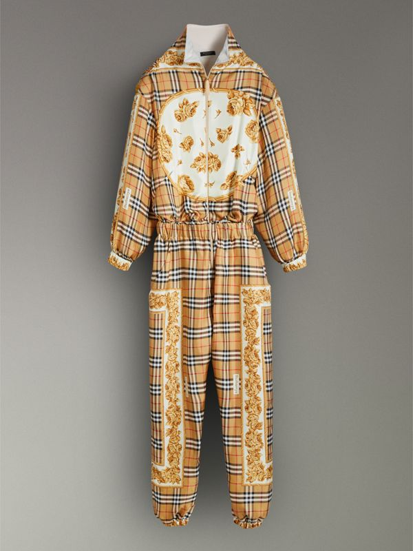 Vintage Check and Archive Scarf Print Jumpsuit in Antique Yellow - Women | Burberry United Kingdom - cell image 3