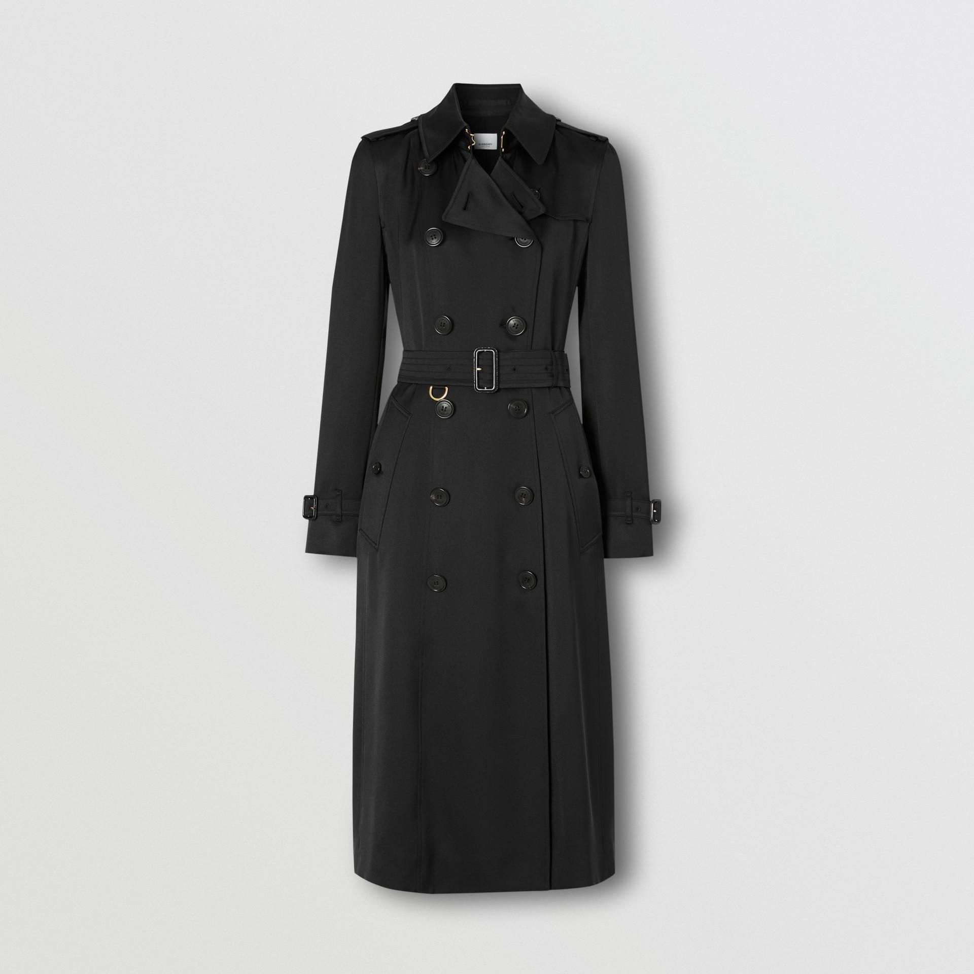 Silk Satin Trench Coat in Black - Women   Burberry United Kingdom - gallery image 3