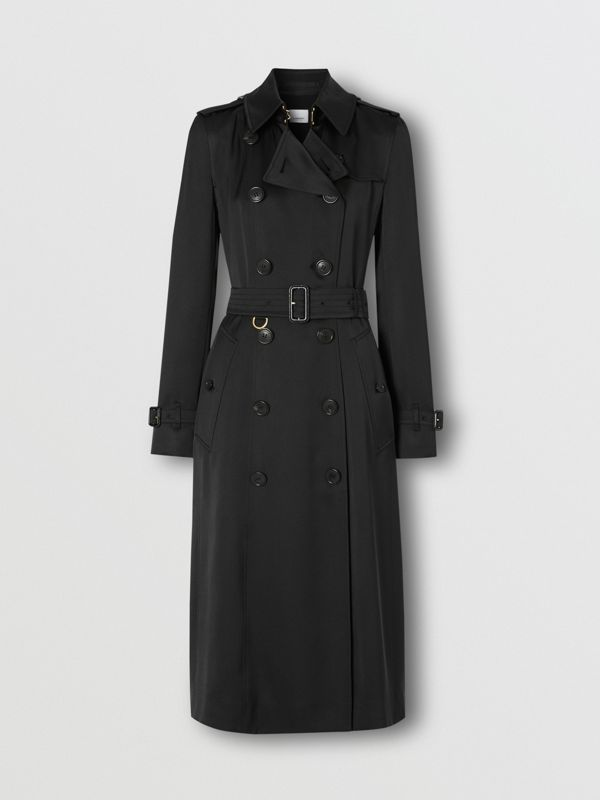 Silk Satin Trench Coat in Black - Women   Burberry United Kingdom - cell image 3