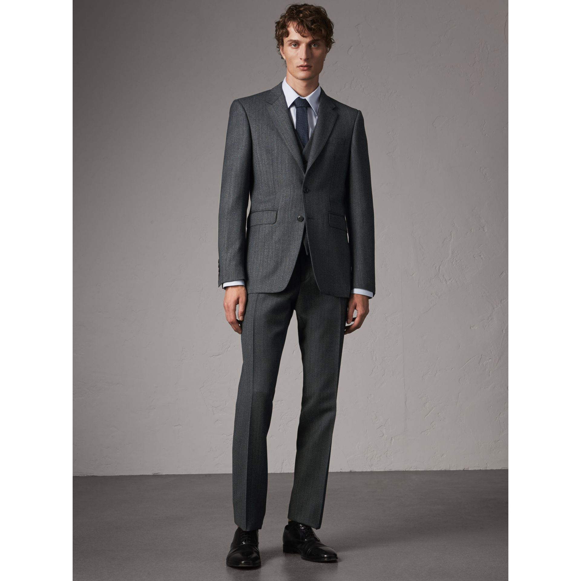 Modern Fit Wool Part-canvas Three-piece Suit in Charcoal - Men | Burberry Singapore - gallery image 1