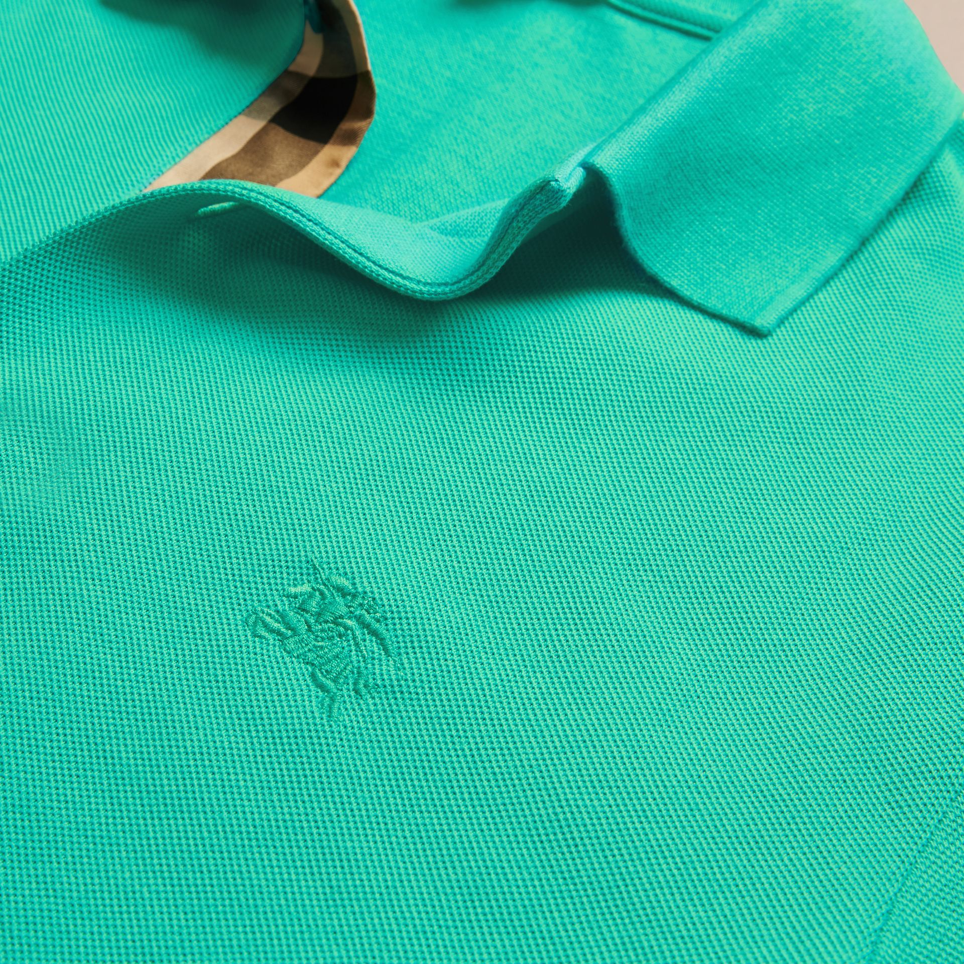 Cyan green Check Placket Cotton Piqué Polo Shirt Cyan Green - gallery image 2