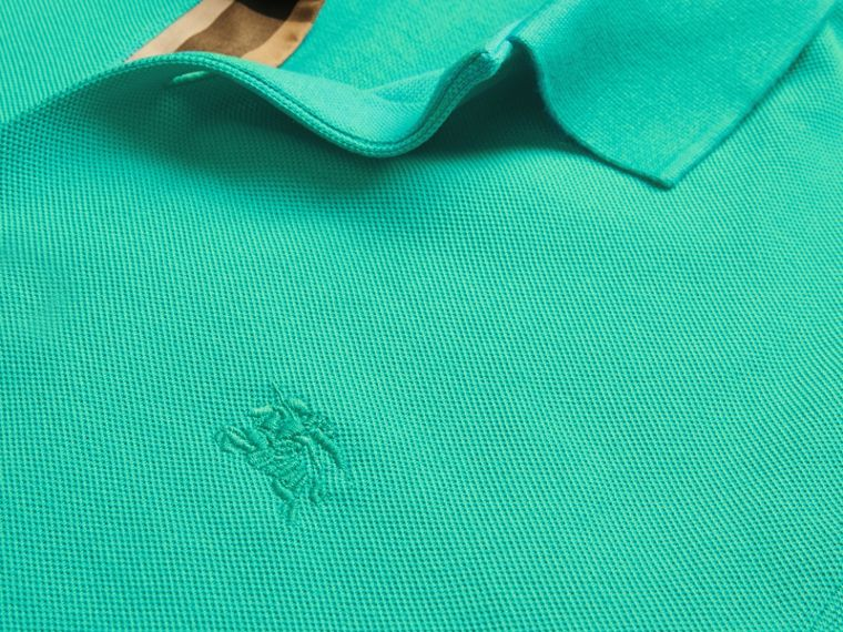 Cyan green Check Placket Cotton Piqué Polo Shirt Cyan Green - cell image 1