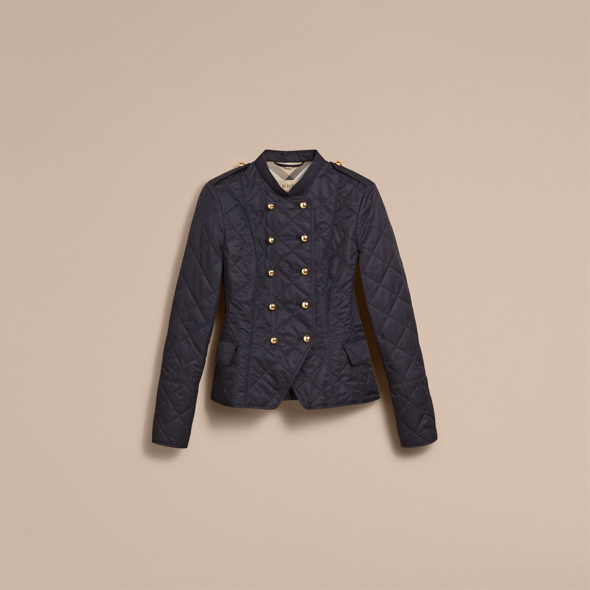 Double-breasted Quilted Military Jacket Navy - gallery image 4