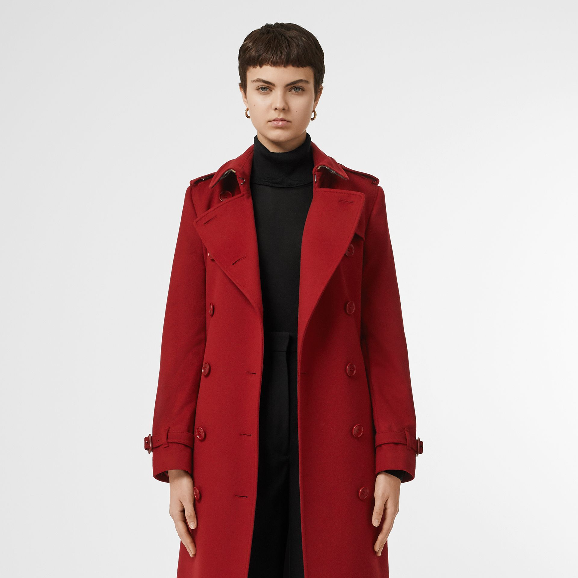 Cashmere Trench Coat in Red - Women | Burberry - gallery image 7