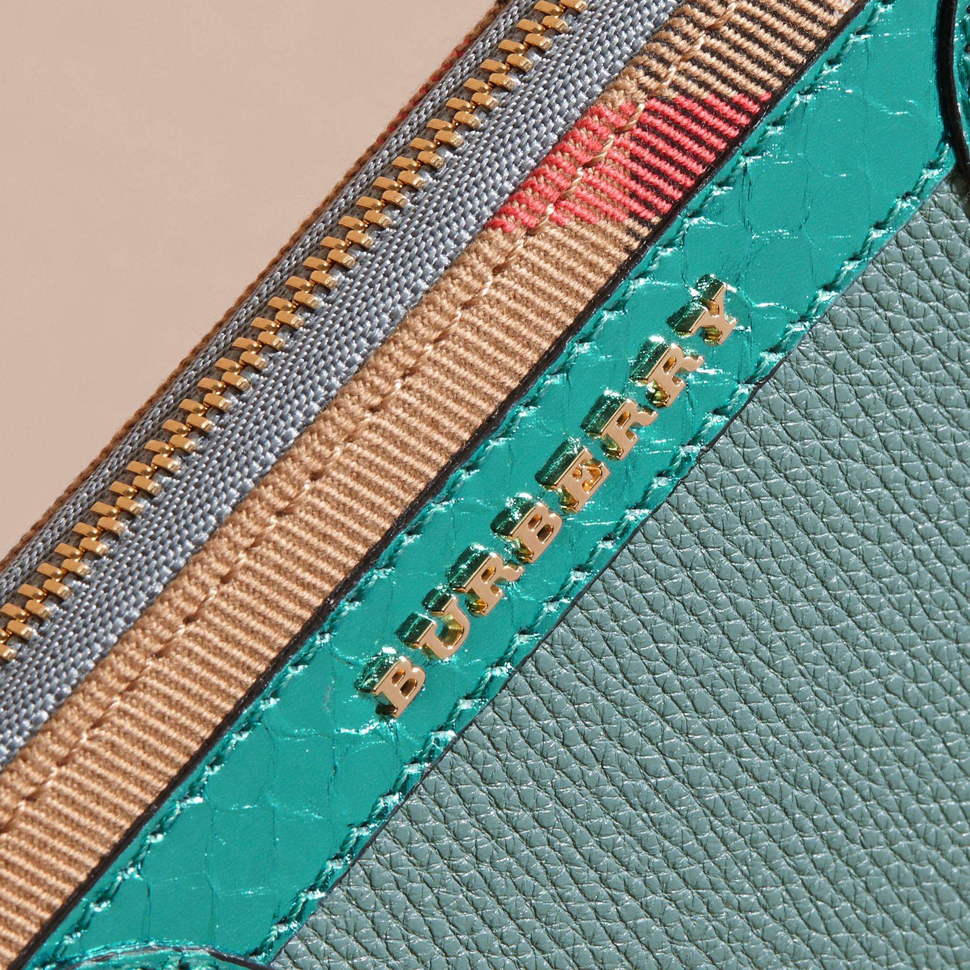Celadon blue Snakeskin and House Check Ziparound Wallet Celadon Blue - gallery image 2
