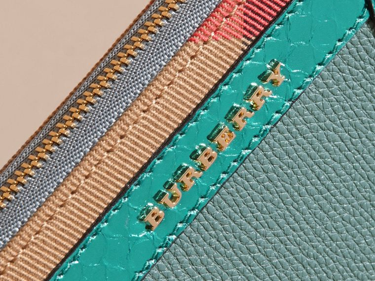 Snakeskin and House Check Ziparound Wallet in Celadon Blue - cell image 1