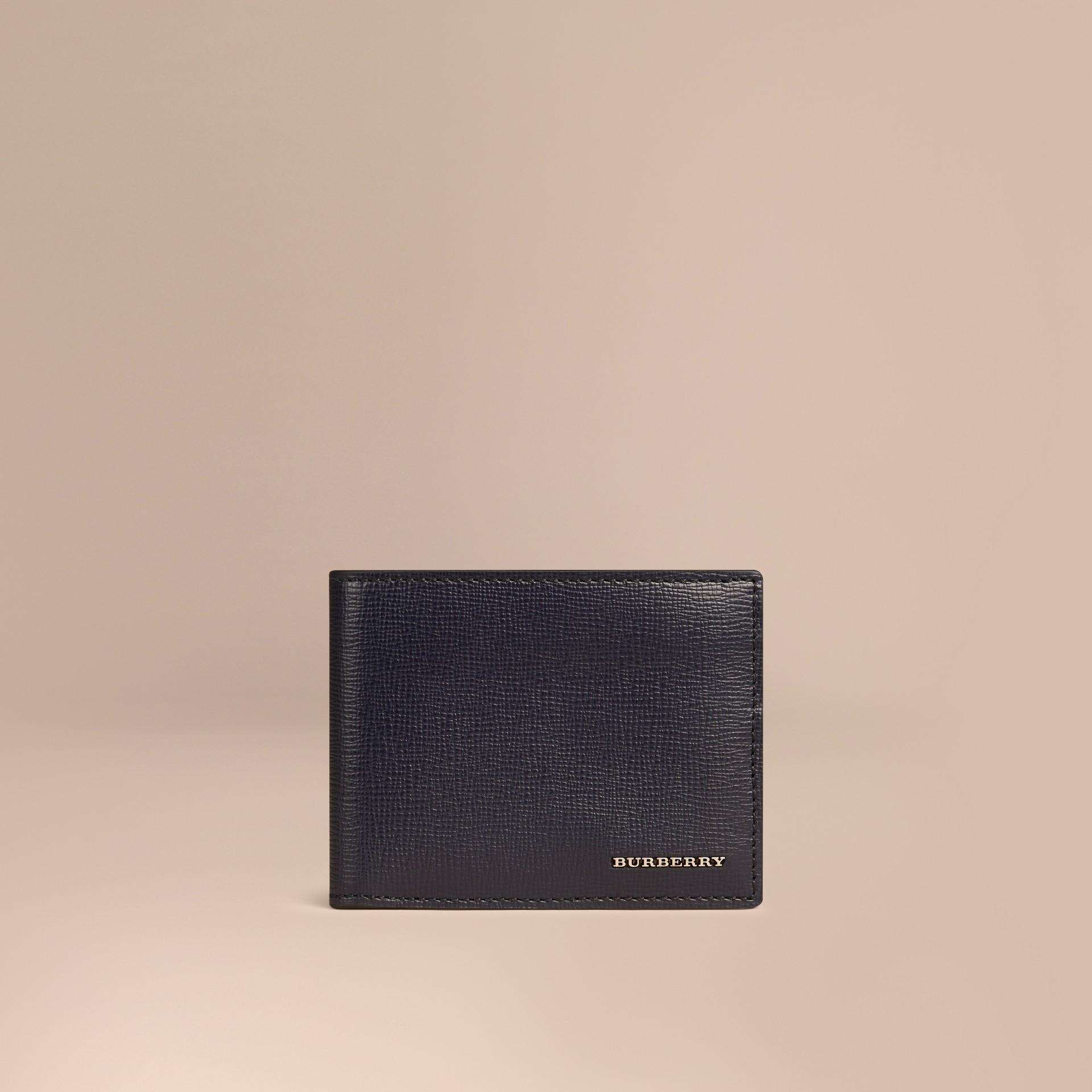 Dark navy London Leather Folding Wallet Dark Navy - gallery image 1