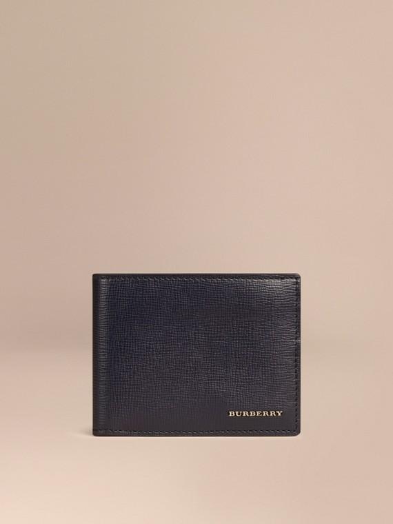 London Leather Folding Wallet Dark Navy