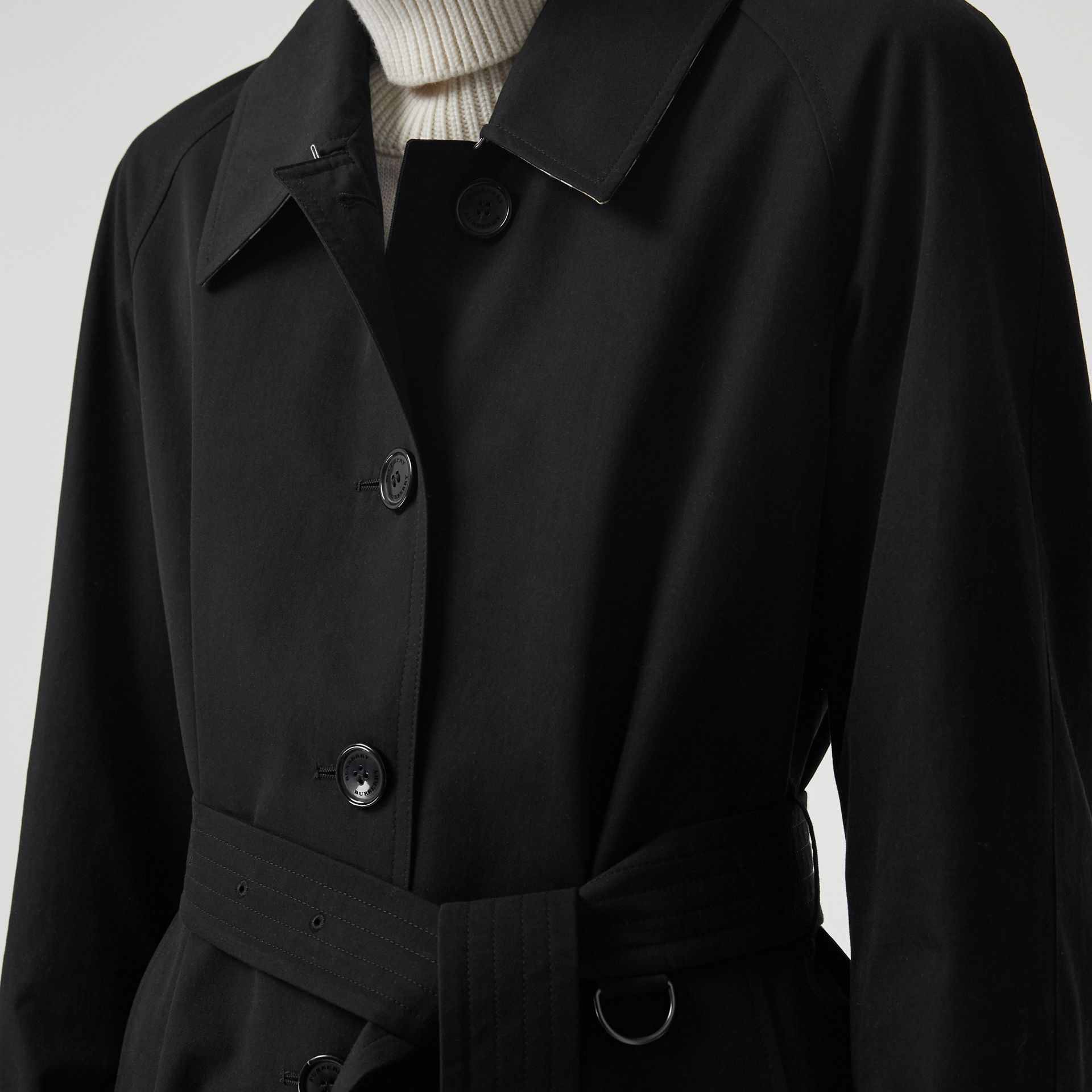 Side-slit Tropical Gabardine Trench Coat in Black - Women | Burberry United Kingdom - gallery image 1