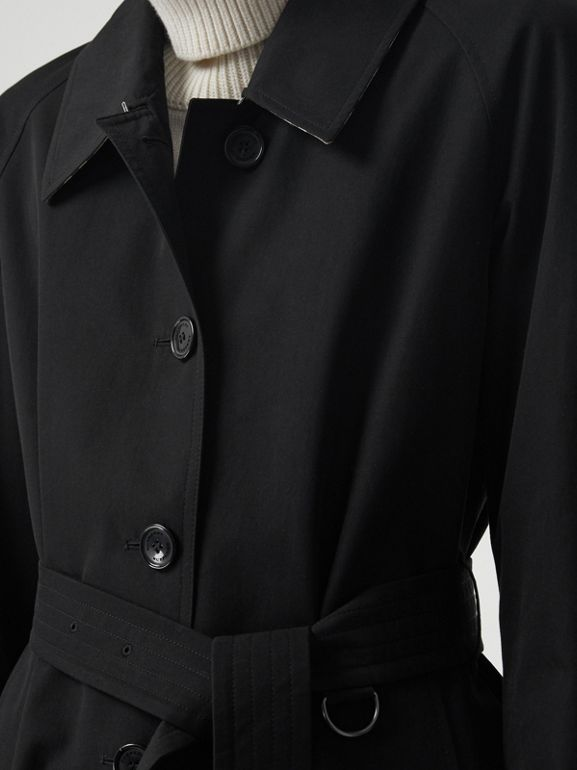 Side-slit Tropical Gabardine Trench Coat in Black - Women | Burberry United Kingdom - cell image 1